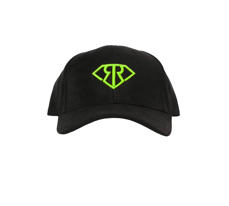 BLACK SUEDE GREEN LOGO DAD HAT - Rich & Rotten
