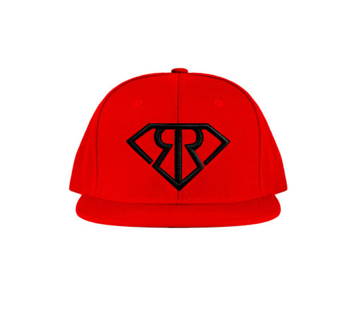 RR LOGO IN BLACK ON RED SNAPBACK