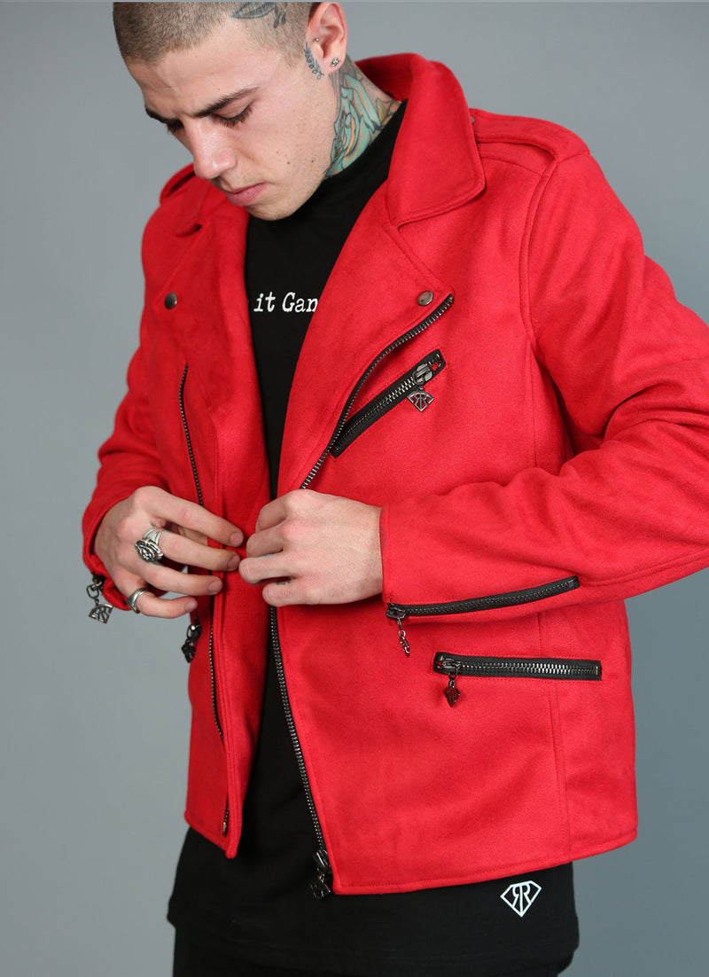 RED SUEDE ROCKER JACKET
