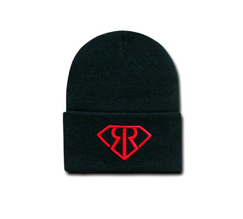 Black hat or beanie with red embroidered Rich & Rotten logo
