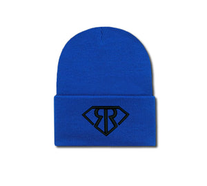Blue beanie with black colored Rich & Rotten embroidered logo on front cuff