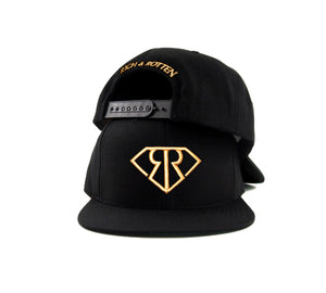 RR LOGO IN GOLD ON BLACK SNAPBACK