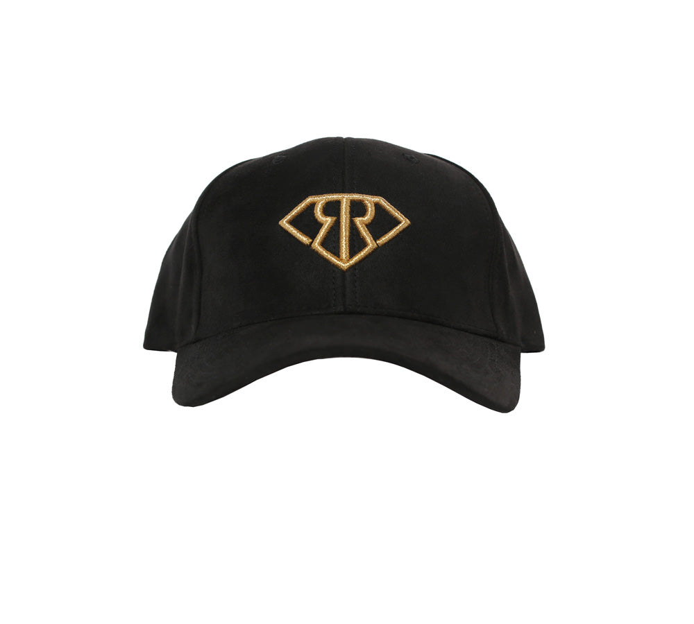 BLACK SUEDE GOLD LOGO DAD HAT