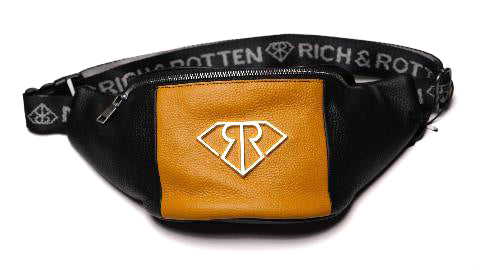 100k LEATHER TRAP BAG (blk/gld) - Rich & Rotten