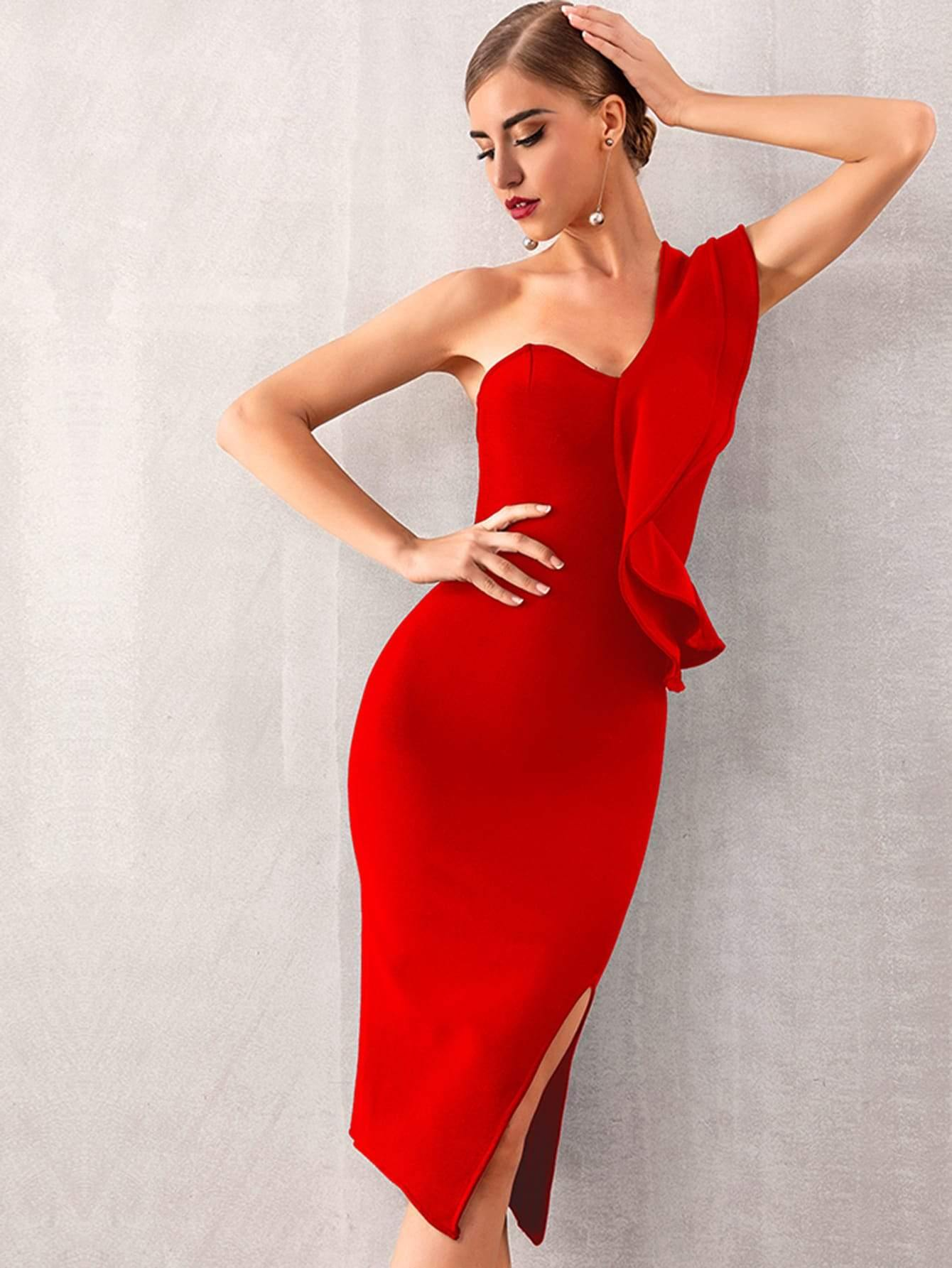 Love Attention One Shoulder Pencil Dress - Jewelclues
