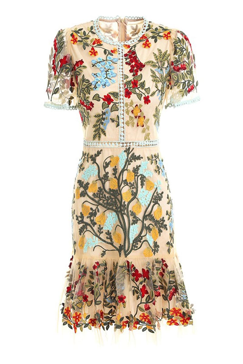 Rendezvous Runway Embroidered Mini Dress - Jewelclues
