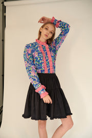 Short Amy Skirt in Black Moiré