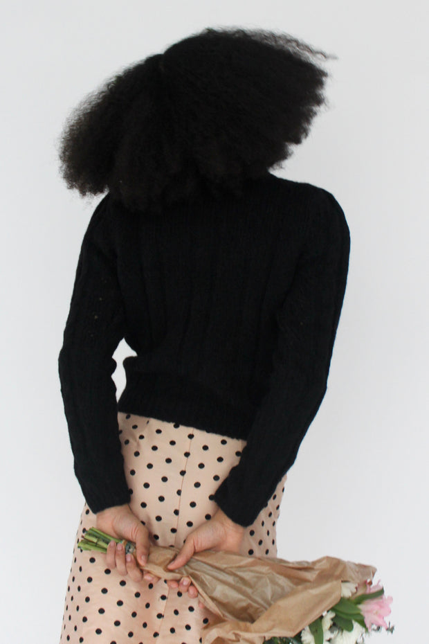 Embroidered Knit Pullover in Black