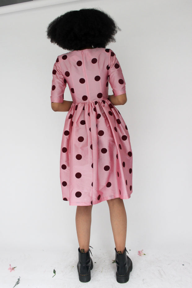 Spring Willow Dress in Pink and Red Polka Dot Taffeta