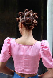 Dirndl Top in Pink Moiré