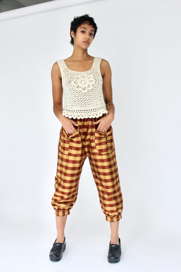 Tie Pant in Rust and Gold Gingham Silk Shantung