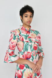 Long-Sleeve Housedress in Red Ditsy Floral