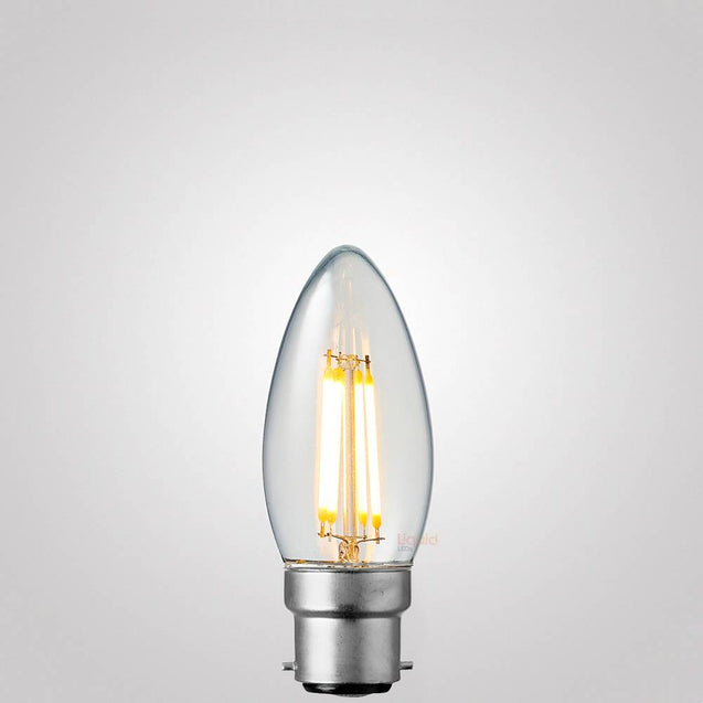 4W 12-24 Volt Candle Dimmable LED Bulb (B22) Clear in Warm White