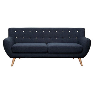 Astrid 3 Seater Sofa Slate with Yellow Buttons - 3 Seater Sofa 6ixty
