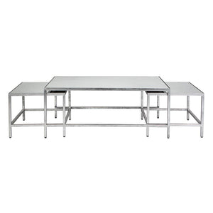 Cocktail Coffee Table 3pc - Silver - Coffee & Side Tables Cafe Lighting & Living 31966