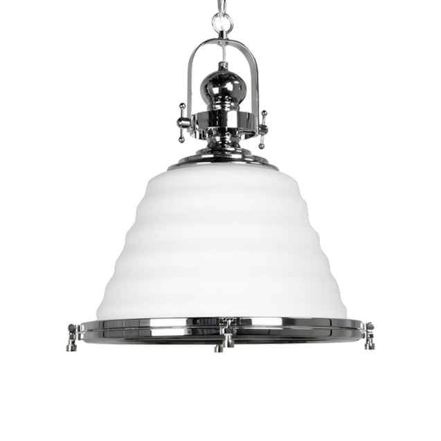 Gaia Elegance White Glass Chrome - Pendant Light She Lights 6611GL