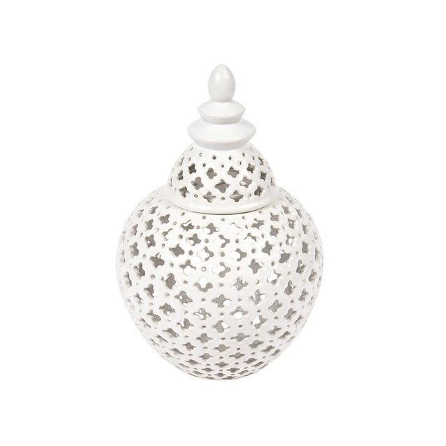 Miccah Temple Jar - Large - White - Home Accents Cafe Lighting & Living 52196