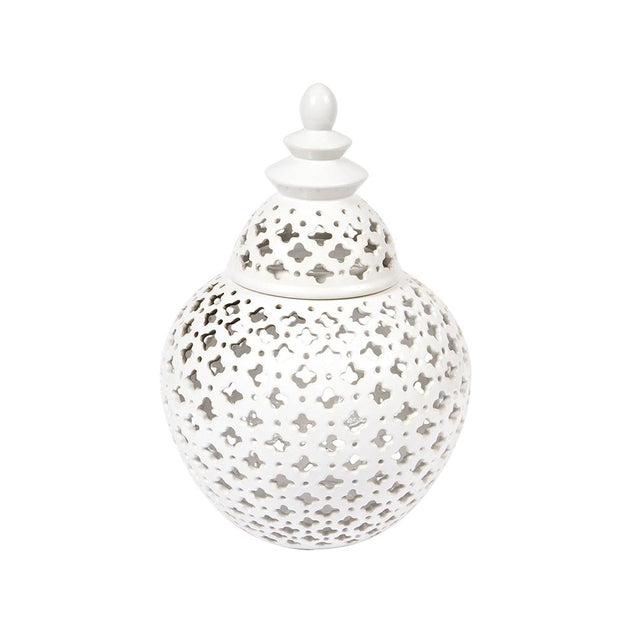 Miccah Temple Jar - Medium - White - Home Accents Cafe Lighting & Living 52197