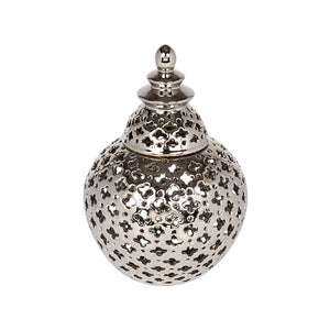 Miccah Temple Jar - Small - Silver - Jars Cafe Lighting & Living 52195