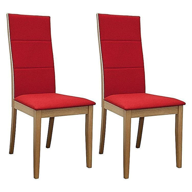 Society Oak Dining Chair (Set of 2) - Red - Dining Chair 6ixty SCRO