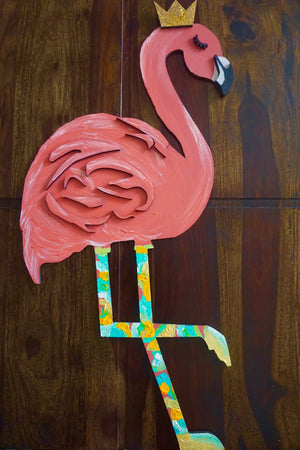 Flamingo , Stand TALL - Art on Wood