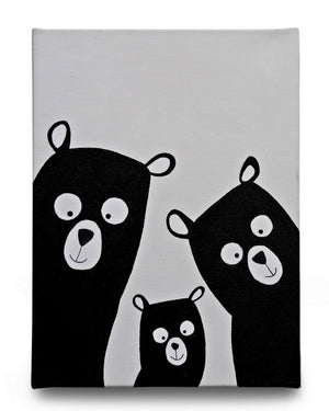 Papa Bear , Mummy Bear and Baby Bear - Art on Canvas