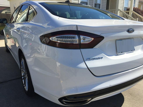 2013-2016 FORD FUSION TAIL LIGHT w/ WHITE CUTOUT PRECUT TINT OVERLAYS