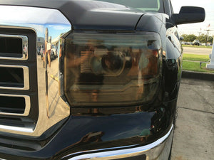 2014-2017 GMC SIERRA SMOKE HEAD LIGHT PRECUT TINT COVER SMOKED OVERLAYS