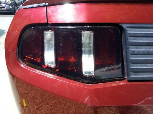 2010-2012 FORD MUSTANG TAIL LIGHT w/REVERSE CUTOUT PRECUT TINT OVERLAY