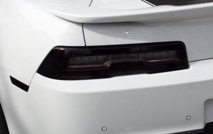 2014-2015 CHEVY CAMARO RS TAIL LIGHT WITH WHITE CUTOUT PRECUT SMOKE TINT OVERLAYS