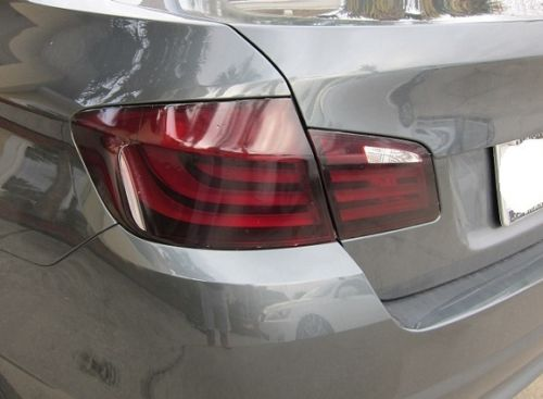 2011-2014 BMW 5 SERIES F10 TAIL LIGHT W/ REVERSE CUTOUT PRECUT TINT OVERLAYS