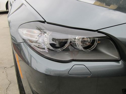 2011-2013 BMW 5 SERIES F10 HEADLIGHT EYELID GLOSS BLACK PRECUT TINT OVERLAYS