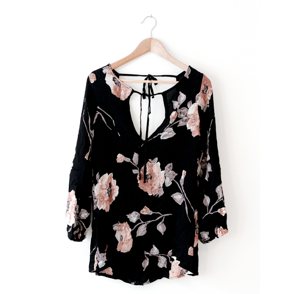 Black Rose Scoop Top