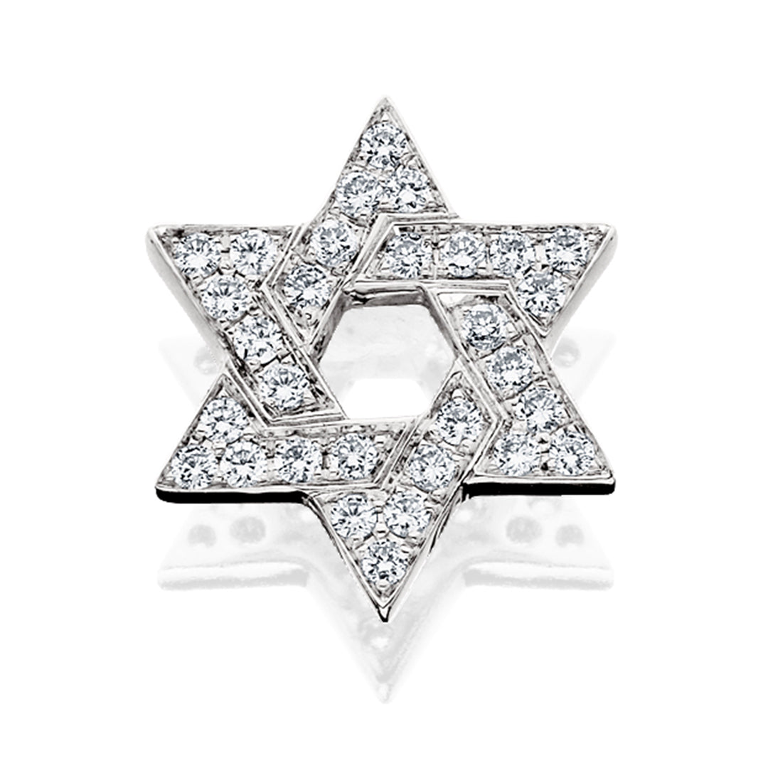 White Gold Diamond Star of David Pendant