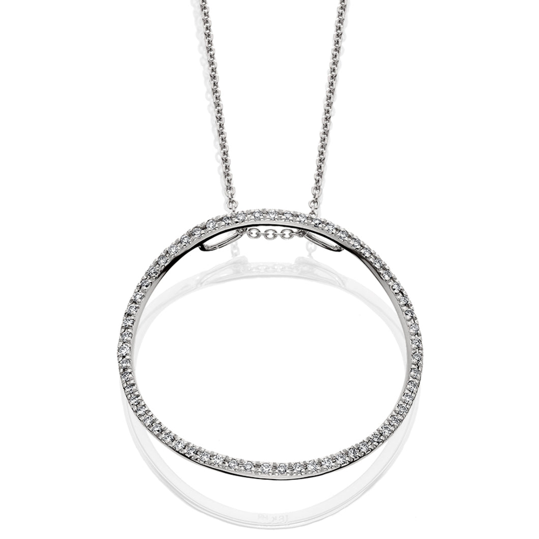 White Gold Circle Diamond Pendant Cable Chain Necklace