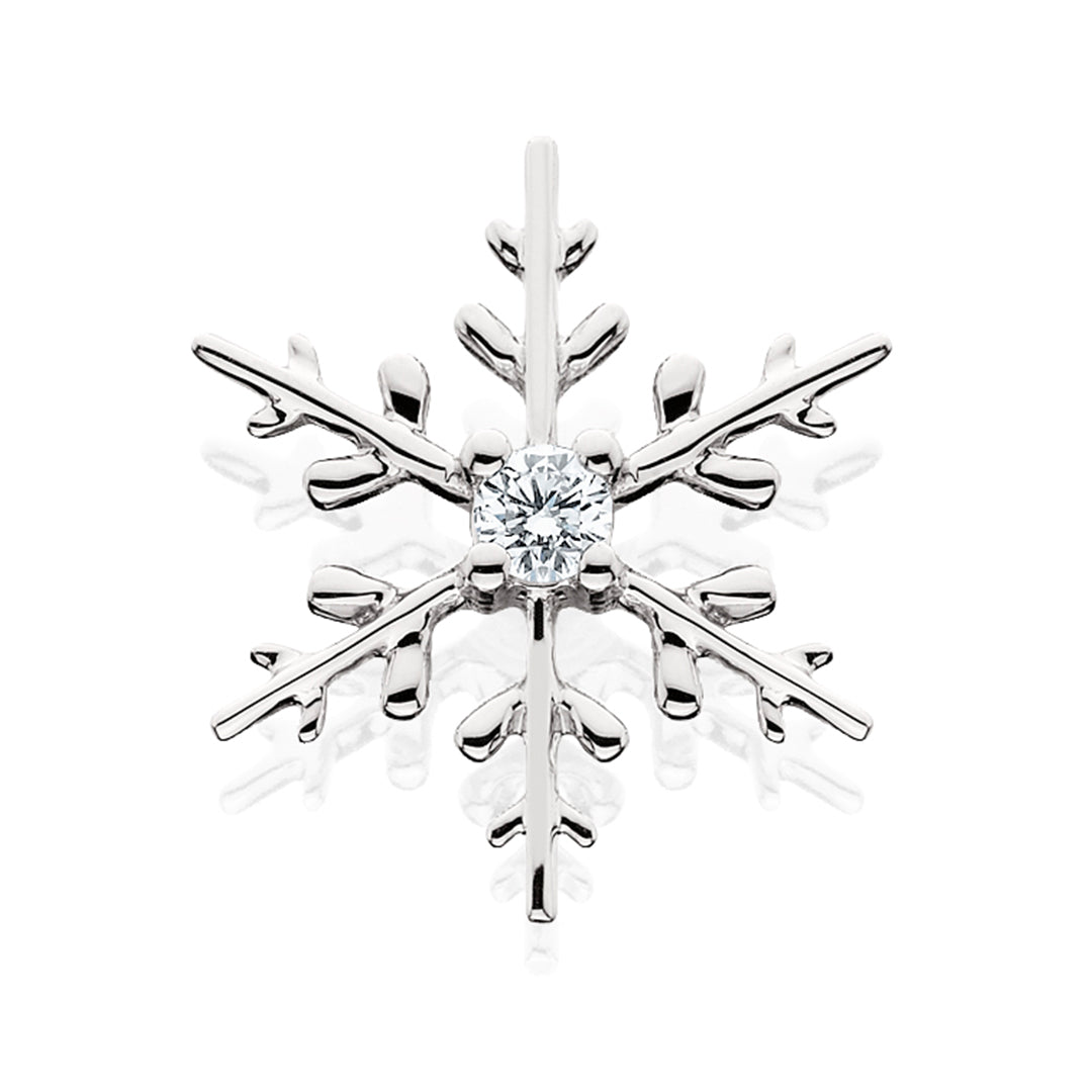 White Gold Polished Snowflake Center Diamond