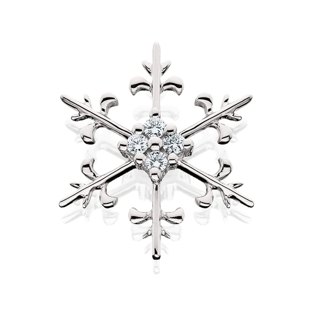 Four Center Diamonds White Gold Snowflake