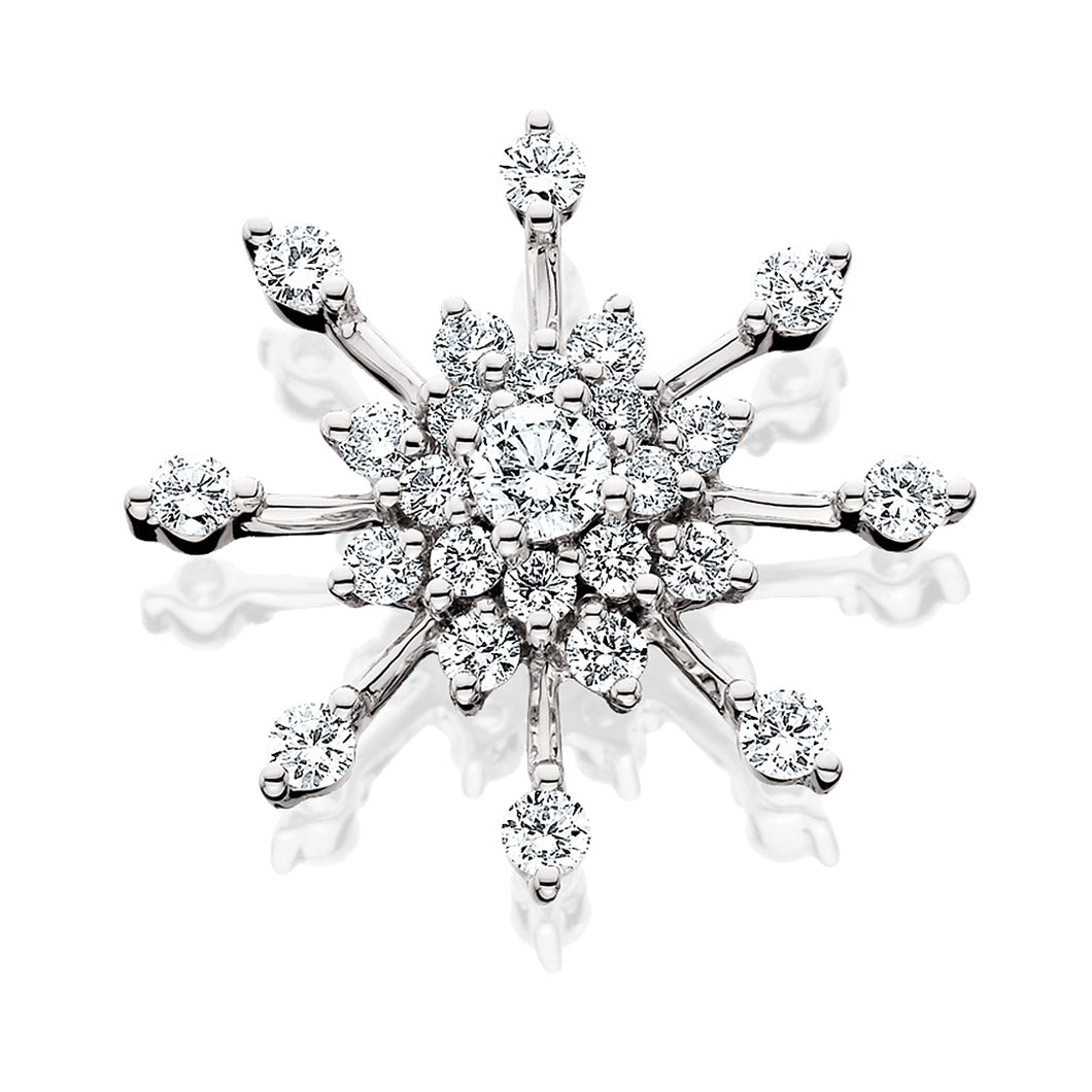 White Gold Diamond Snowflake Pendant