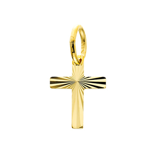 Yellow Gold Diamond Cut Petite Cross