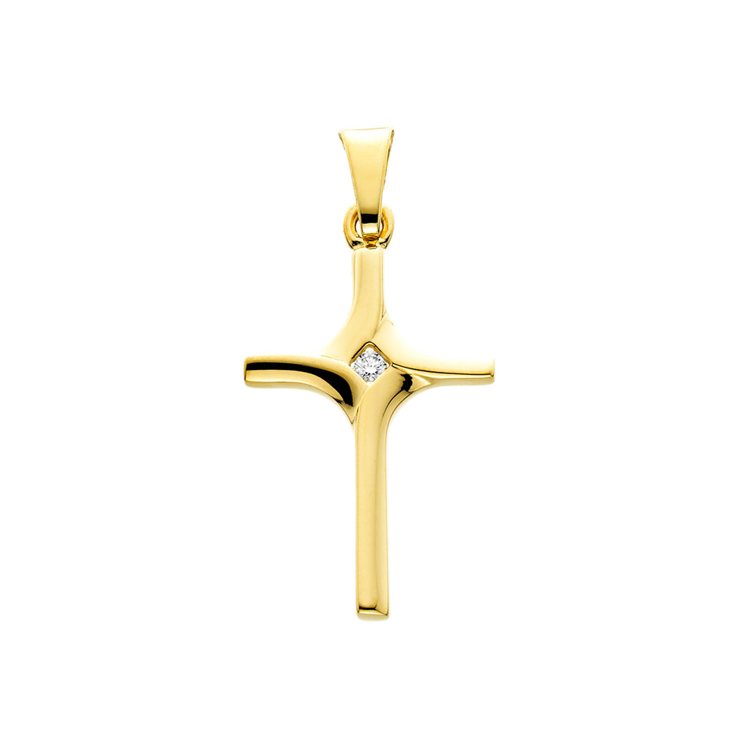 Yellow Gold & Single Diamond Cross
