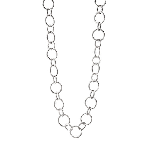 Sterling Silver Cable Design Circle Link Necklace