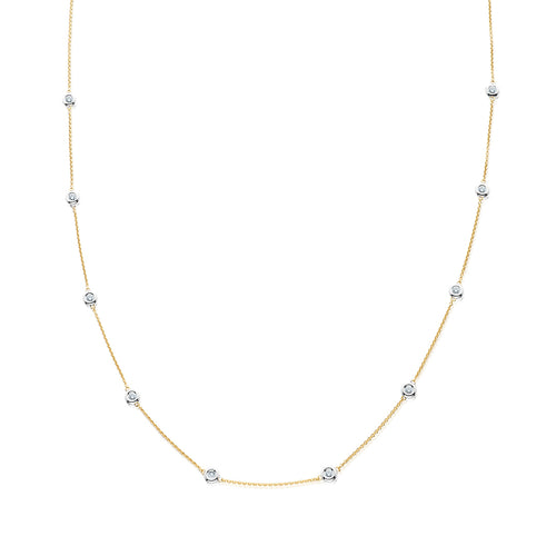 Yellow Gold Bezel-set Diamond Station Necklace