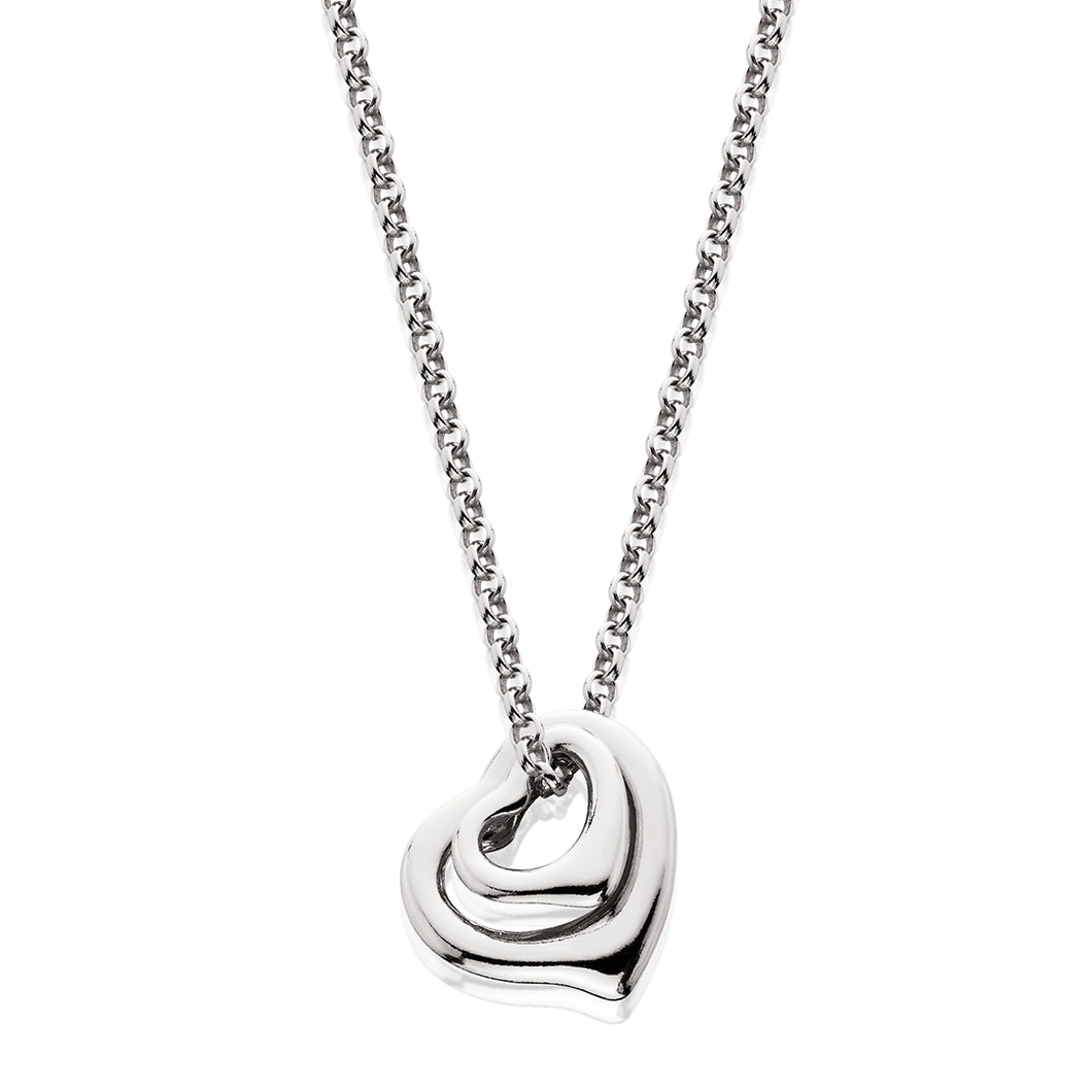 Sterling Silver Double Floating Heart Silver Cable Chain Pendant