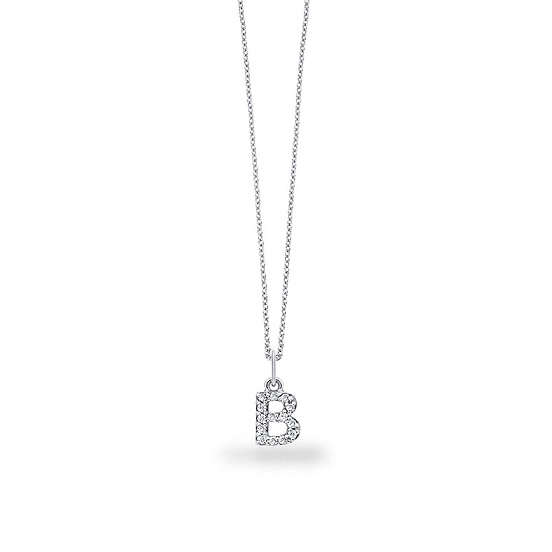"Cable Chain White Gold & Diamond ""B"" Letter Pendant"