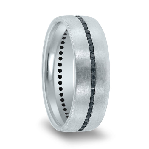Matte Finished Flat Channel Set Black Diamond Band