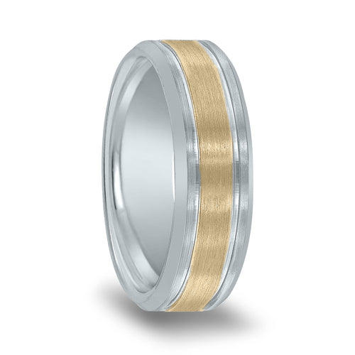 Brushed Yellow Center High Polished Edge Grooves Ring