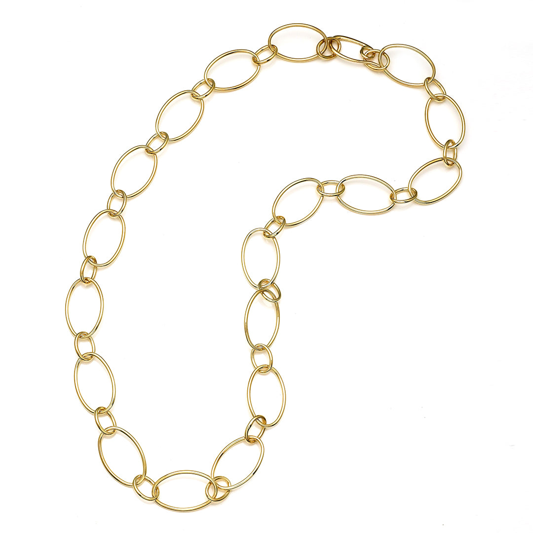Large High Polished Yellow Gold Oval Link Necklace