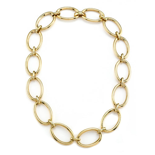High Polished Yellow Gold Oval Link Necklace