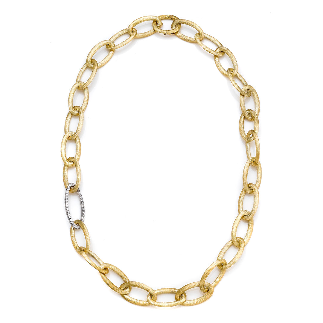 Shared Prong Yellow Gold Oval Link Necklace