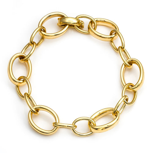 High Polished Yellow Gold Oval Link Bracelet